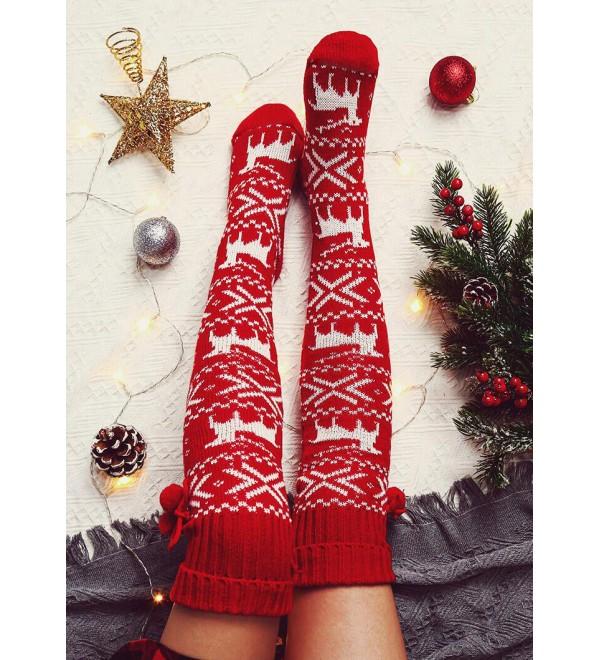 Christmas Elk Over   Knitted Hairball Socks