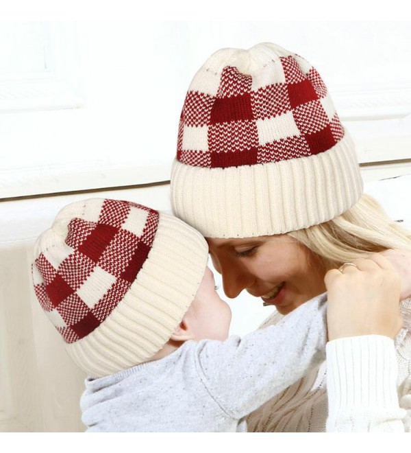 2Pcs Buffalo Plaid Mo r And Baby Knitted Beanie Hat
