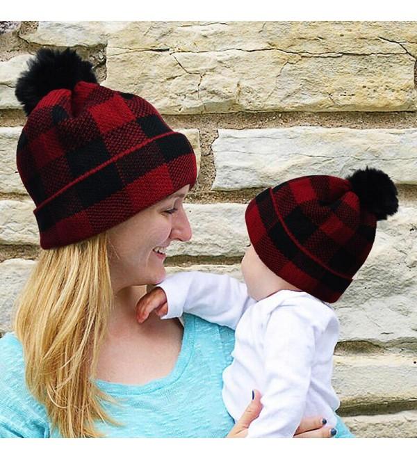 Christmas Buffalo Plaid Winter Warm Knitted H ball Hat