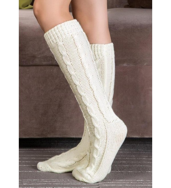 Cable Knitted Warm Mid Calf Boot Socks