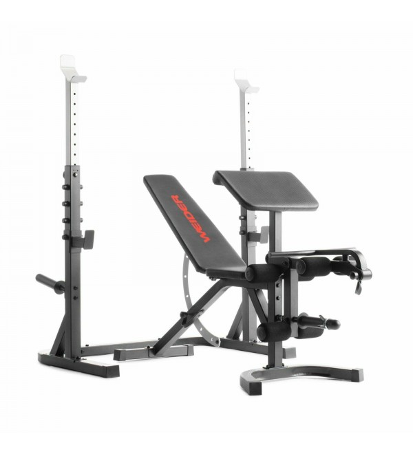 Olympic Bench W/ Rack Removable Preacher Curl Pad Adjustable Spotting Arms Gym