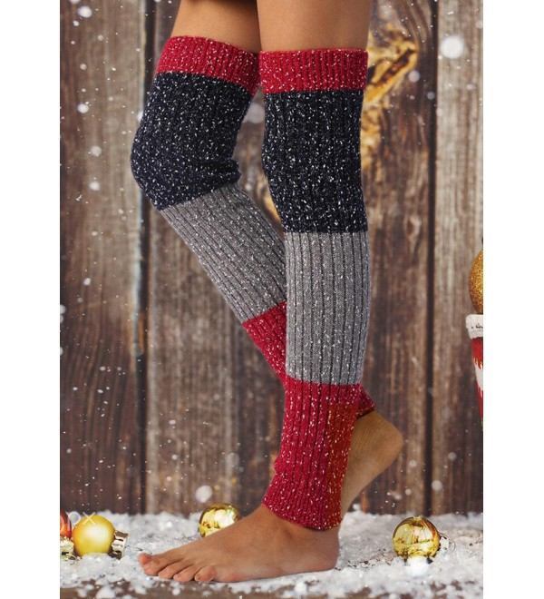 flake Color Block Over Knee Knitted Leg Warmers Socks