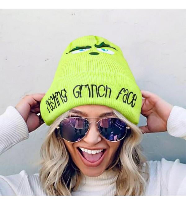 Christmas Resting Gr h Face Knitted Hat