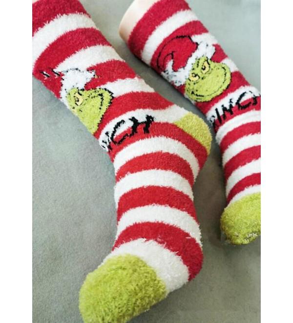 Christmas Hat Gr h Striped Warm Plush Socks - Green