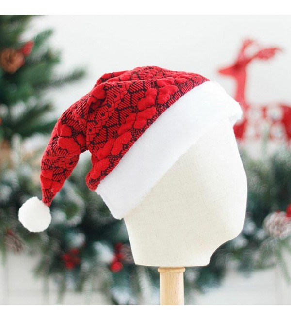 Christmas   Heart Warm Plush Knitted Hairball Hat