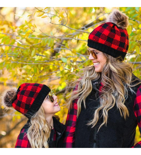 Buffalo Plaid Winter Warm Knitted Hairball Be ie Hat