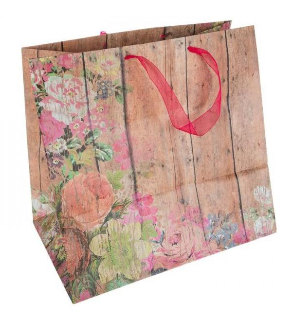 Floral Wood Pl k Gift Bag