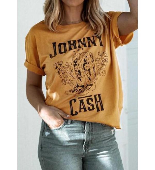 Johnny Cash O Neck T Shirt Tee   Yellow